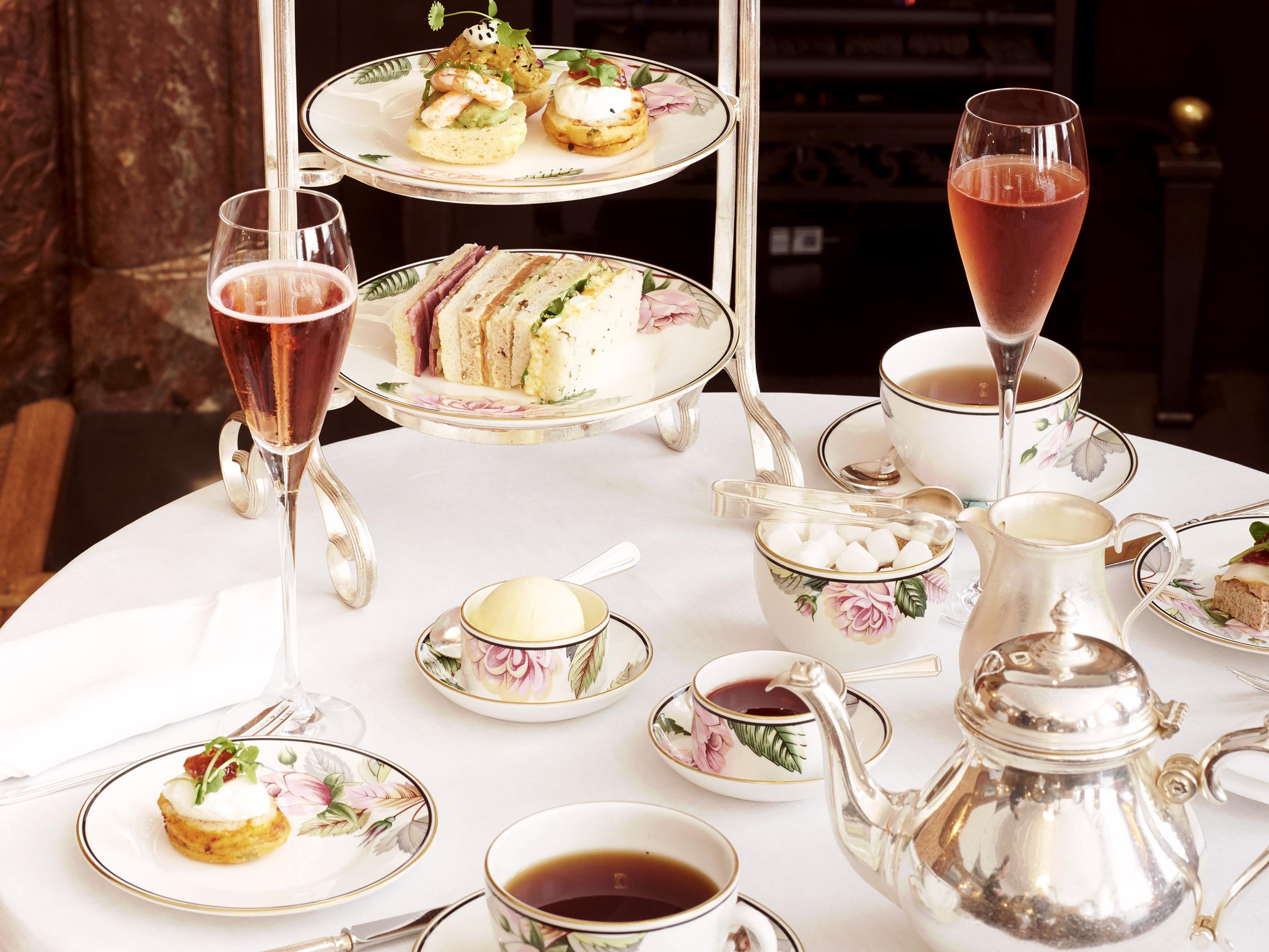 Traditional afternoon tea at English Tea Room At Brown's Hotel