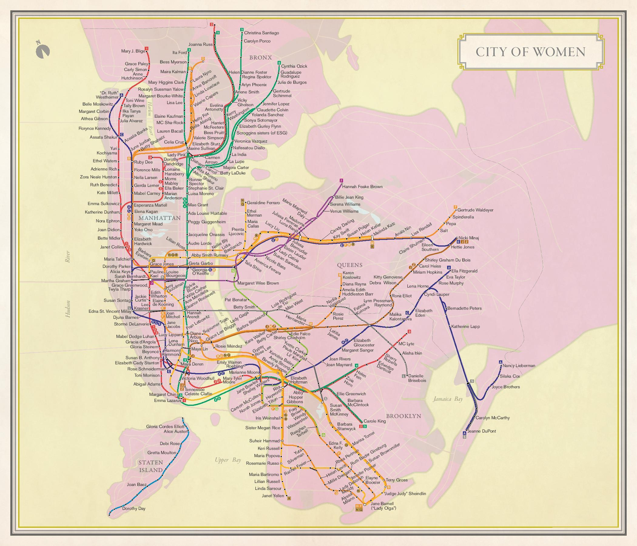 Map shows what New York would look like with subway stops named after women