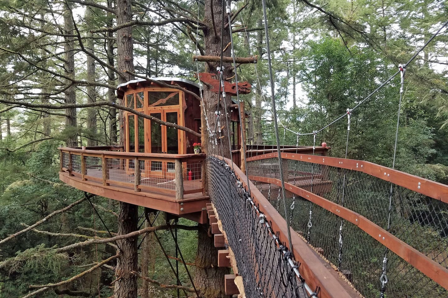 This One Is A Looker It S Been Furbished Using Fallen Old Growth Redwood Logs On 400 Acre Property You Ll Feel Truly Secluded Traversing The Suspended