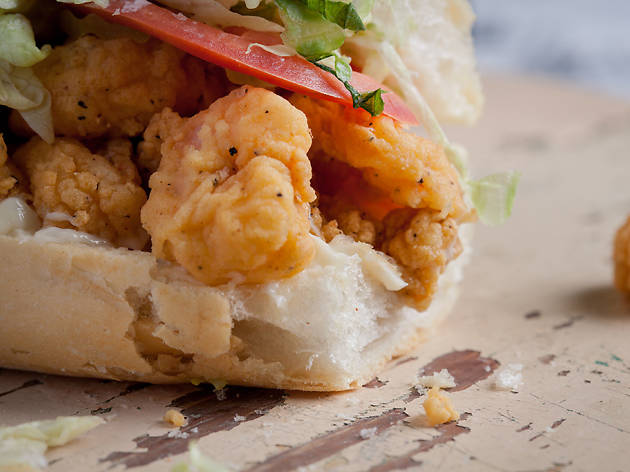Fried shrimp po' boy at Parkway Bakery and Tavern in New Orleans, LA