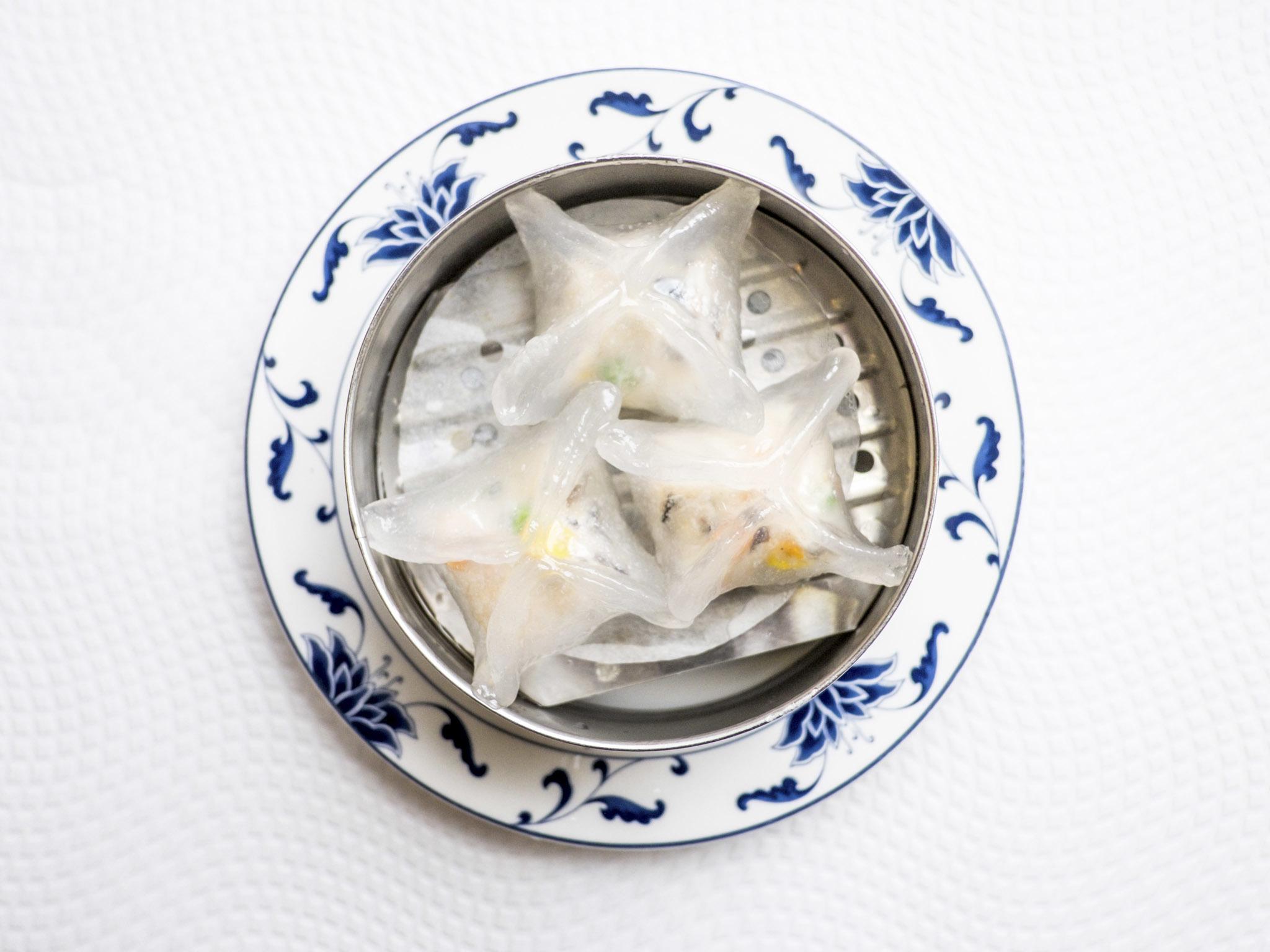Raviolis de cristal com gambas do Hong Kong Grand Palácio