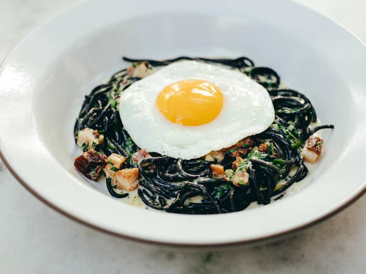 Squid ink spaghetti carbonara at Ysabel