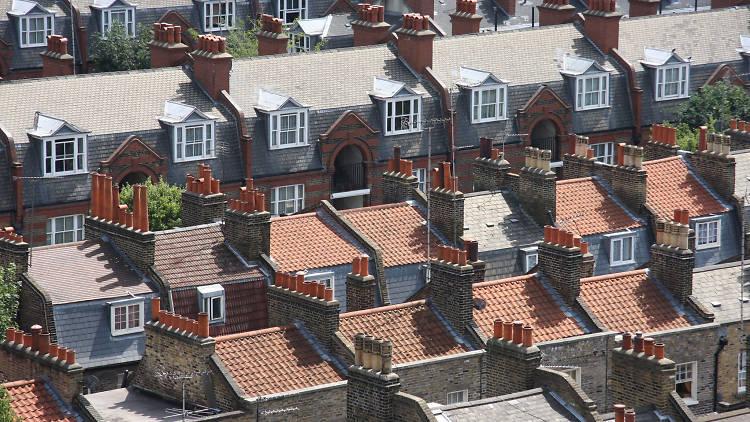 Terraced London houses in Whitechapel