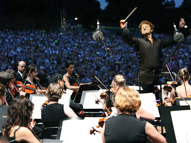 Sydney Symphony Orchestra at the Domain from the perspective of the stage