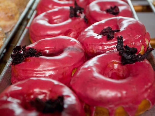 Hibiscus doughnut at Dough