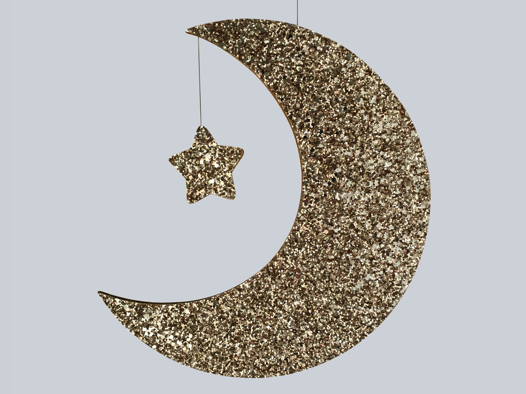 Gold glitter moon wallhanging by Little Cloud