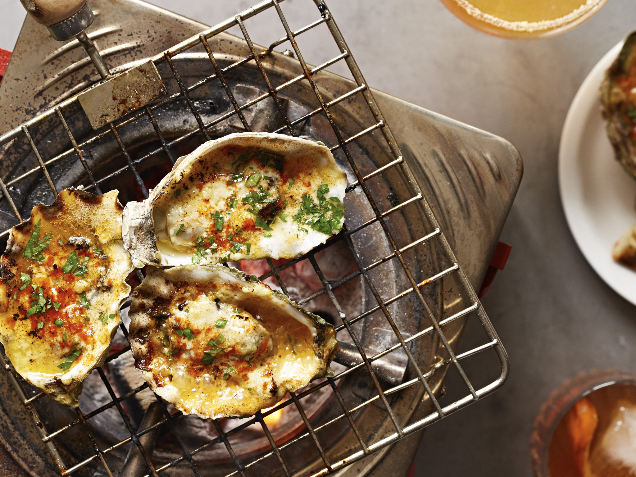 New Orleans style chargrilled oysters at Decatur at Pamela