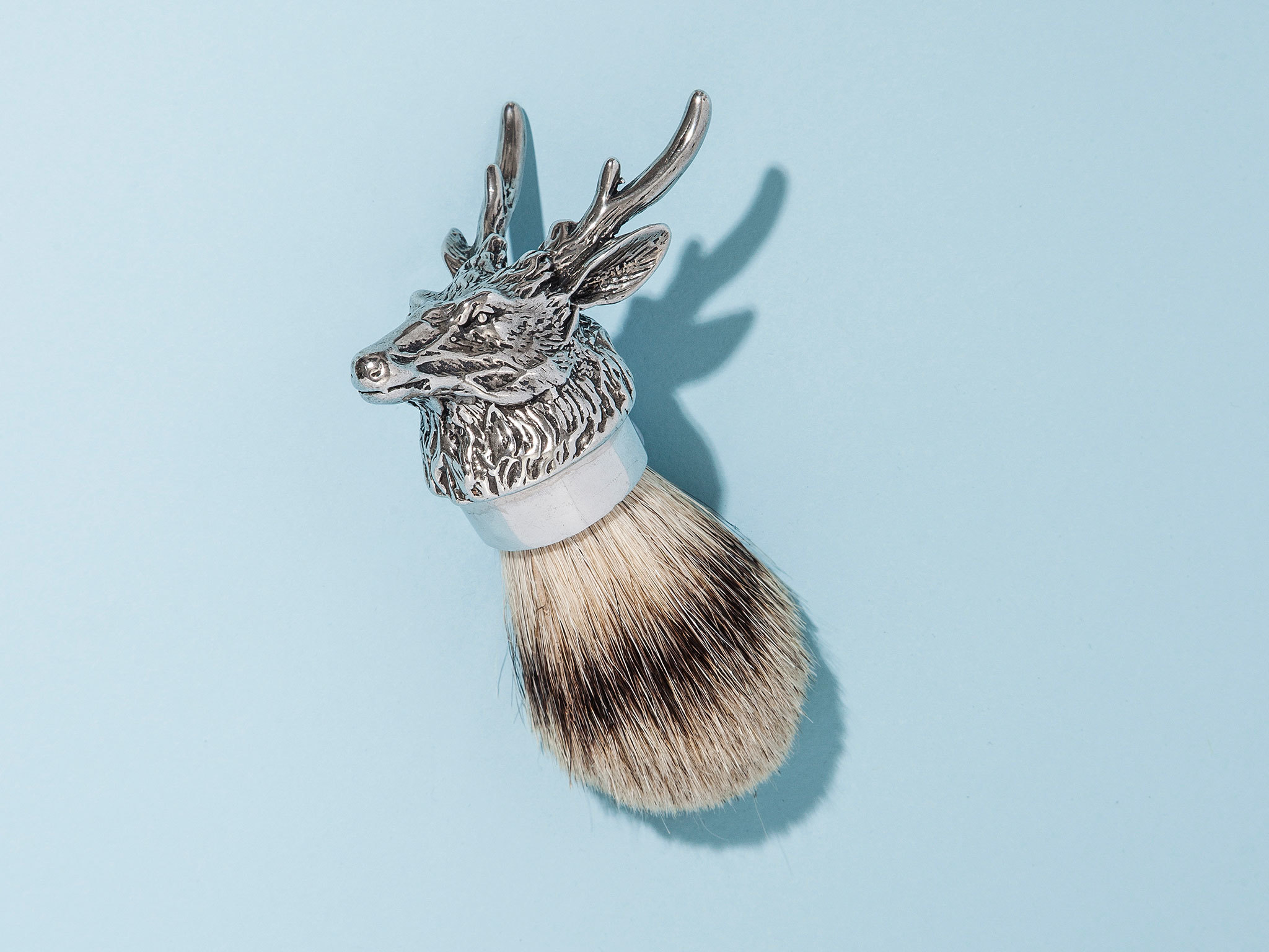 Stag head shaving brush by English Pewter Company
