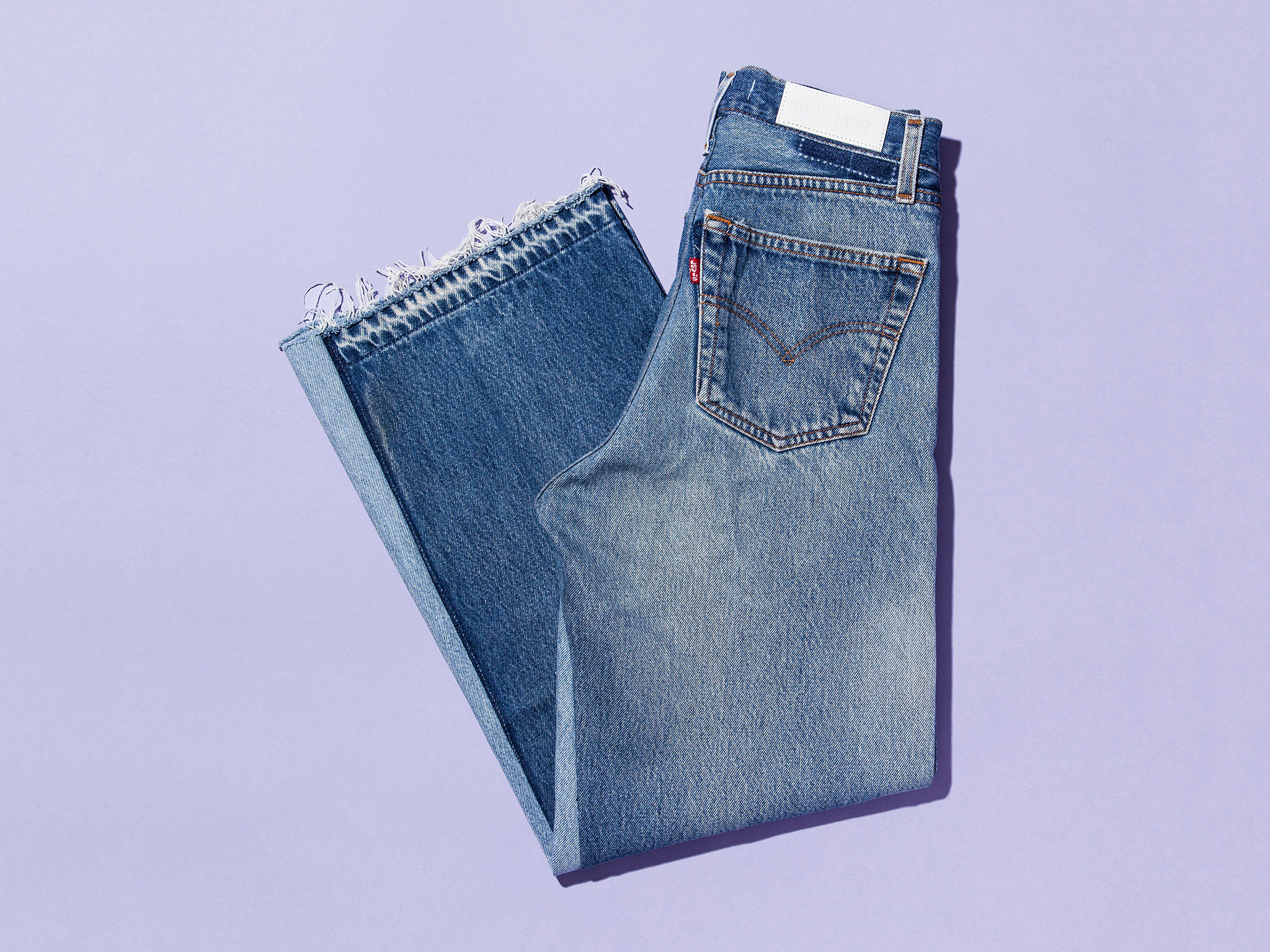 Panelled cropped jeans by Re/Done