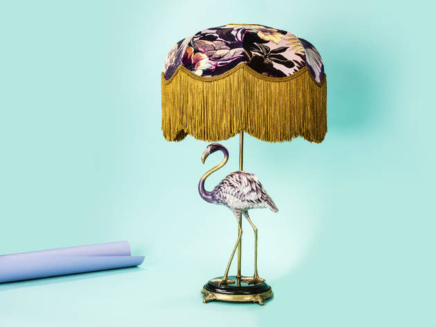 Flamingo lampstand with 'Tilia Limerence' lampshade set by House of Hackney