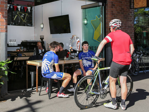 Cyclists at Rapha Cycling Shop
