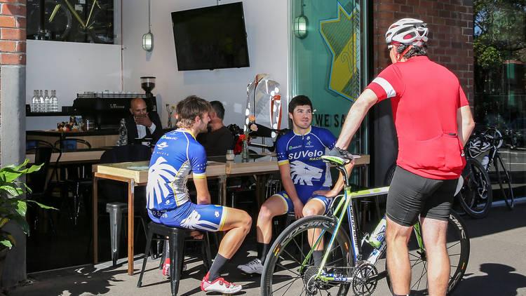 Cyclists at Rapha Cycling Shop
