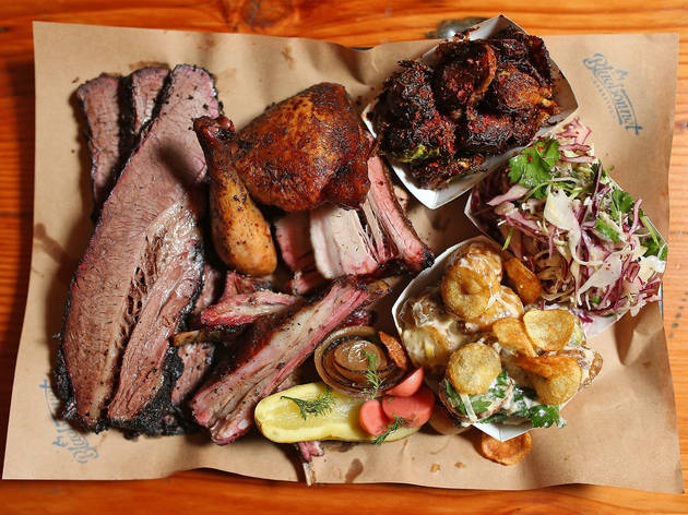 Close up of platter at Bluebonnet BBQ