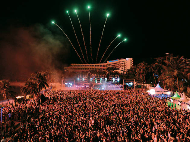 Countdown to midnight with a spectacular fireworks display