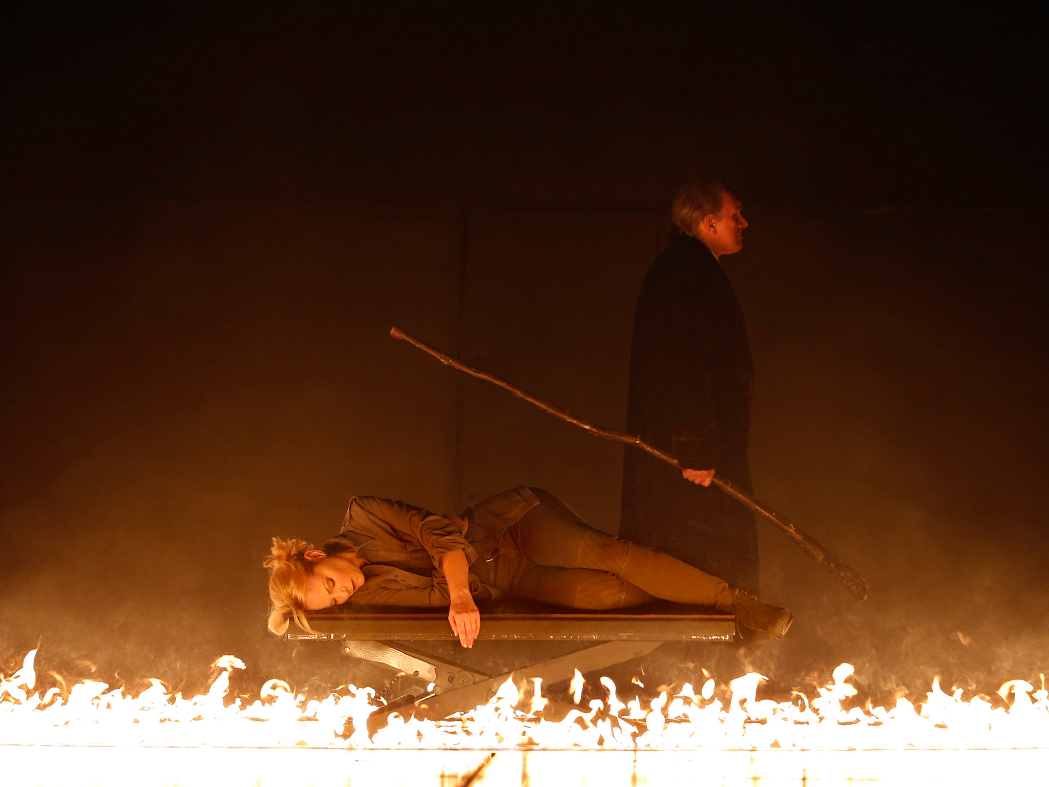 The Ring Cycle Die Walküre 2016 Opera Australia production still 01 feat Lise Lindstrom as Brünnhilde and James Johnson as Wotan photographer credit Jeff Busby