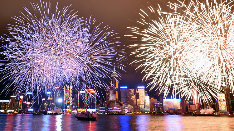 Hong Kong fireworks at Victoria Harbour