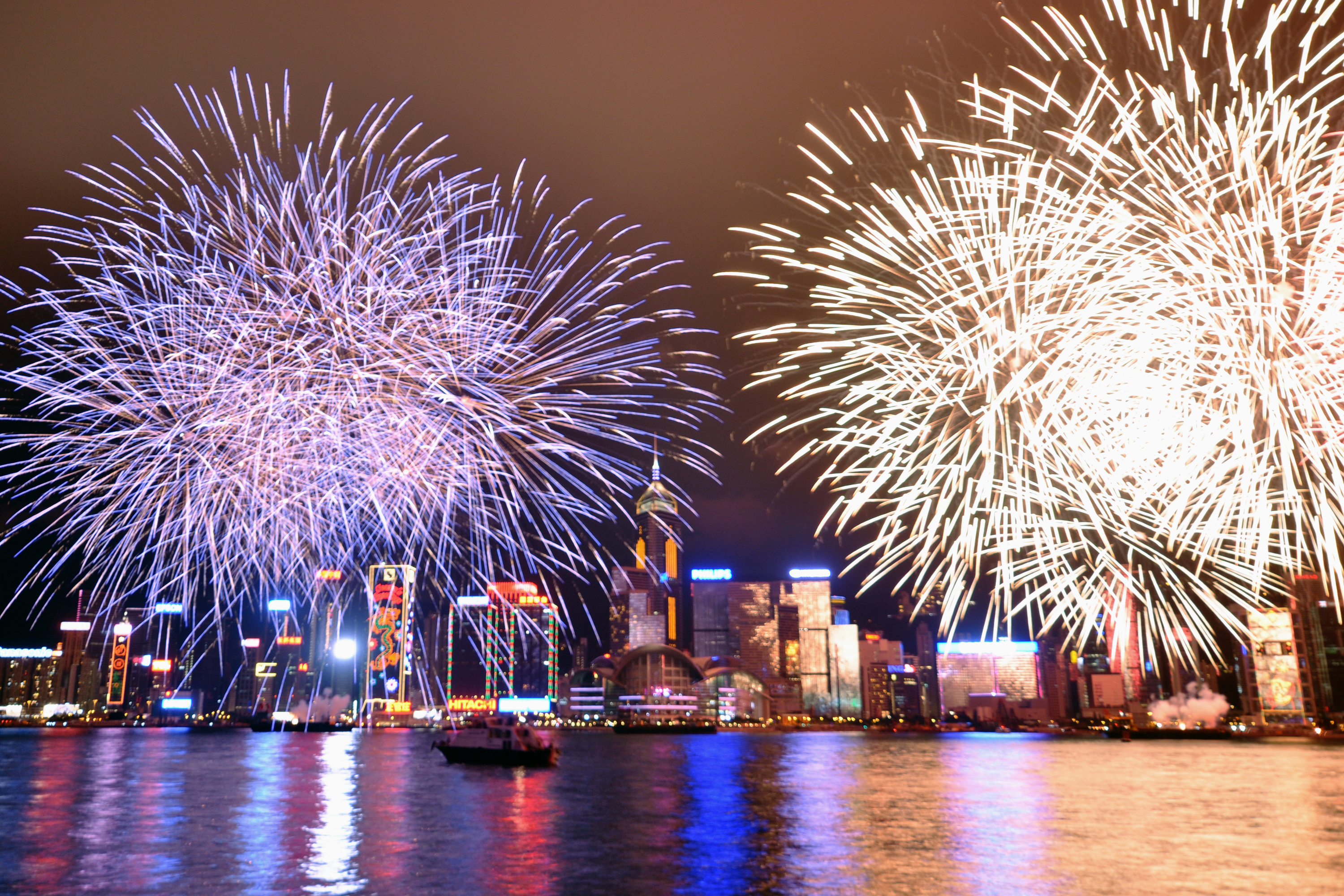 Hong Kong fireworks at Victoria Harbour