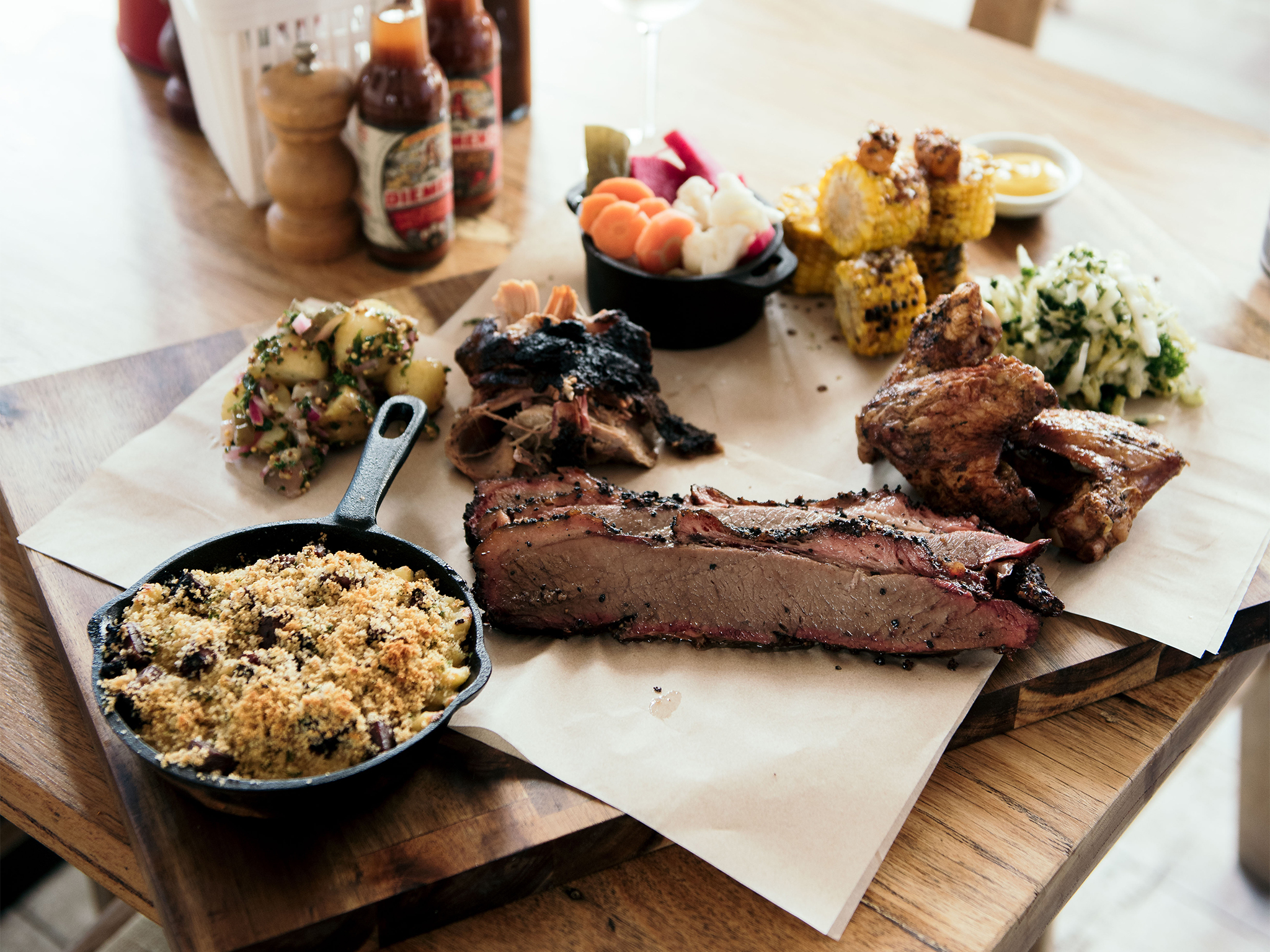 Meat and assorted sides at Burn City Smokers Pop-Up