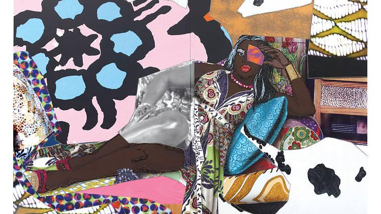 Qusuquzah Lounging with Pink+Black Flower, 2016, Mickalene Thomas