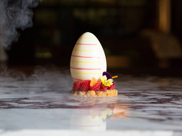 Try the Dragon Egg dessert at Sake Restaurant & Bar