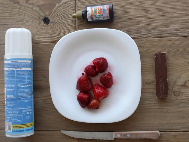 Ingredientes para fresas Santa Claus