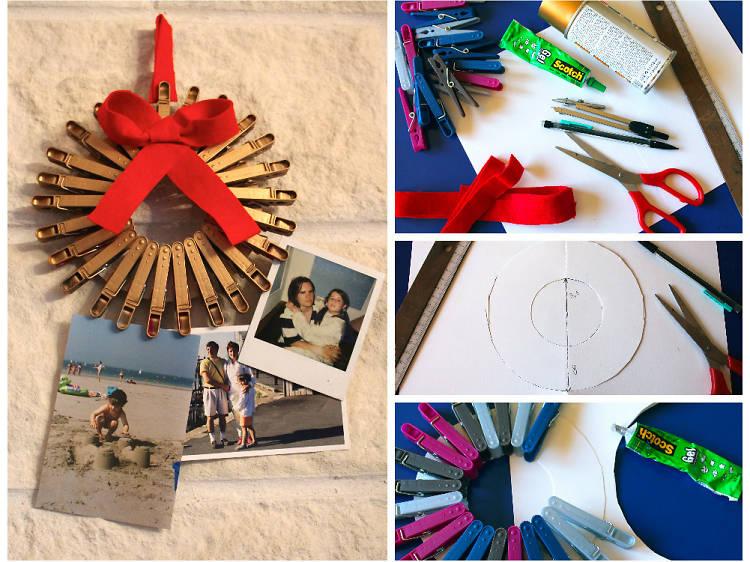Une couronne de Noël-porte photos en pinces à linge