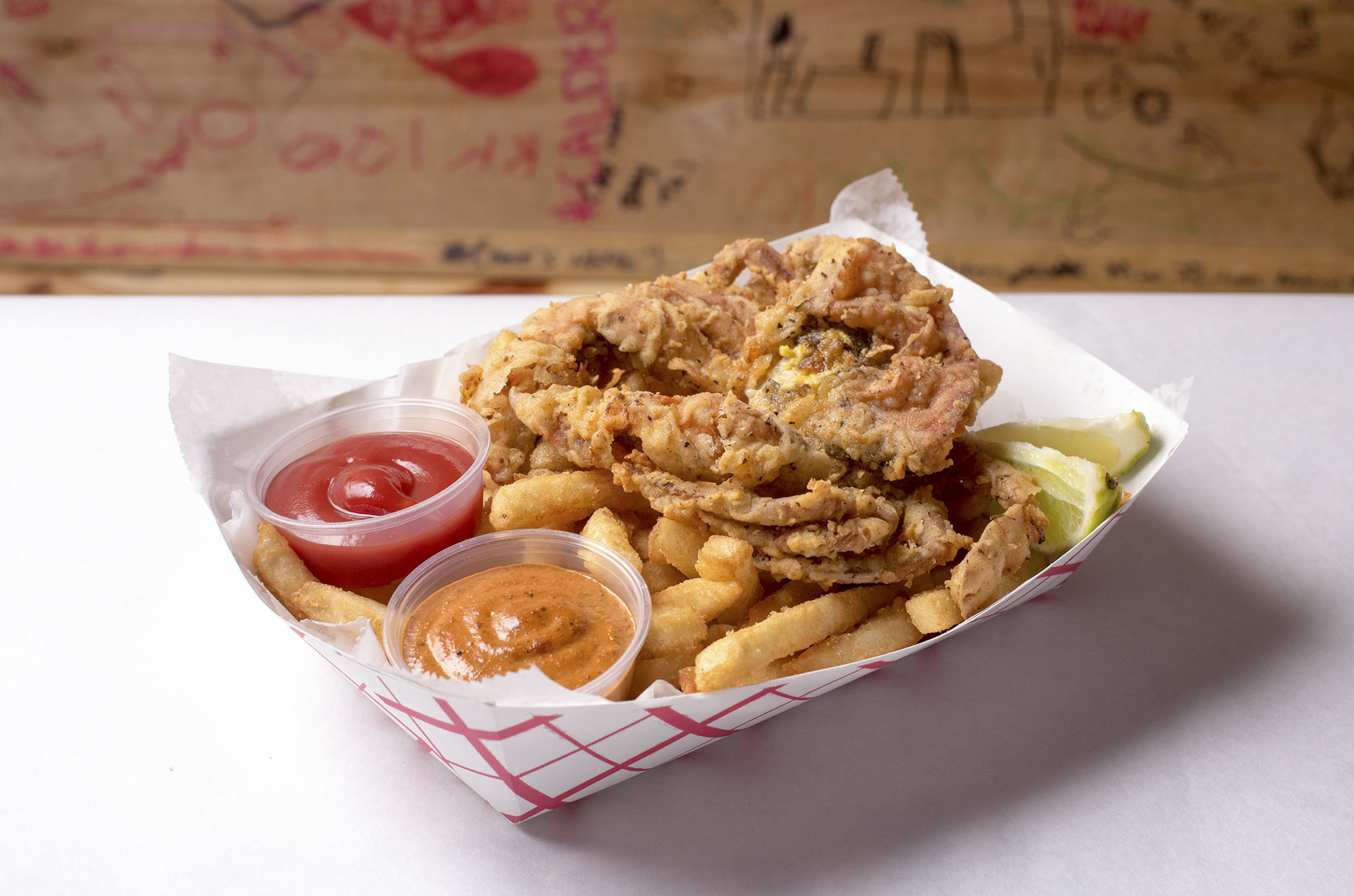 Fried soft-shell crab at the Angry Crab