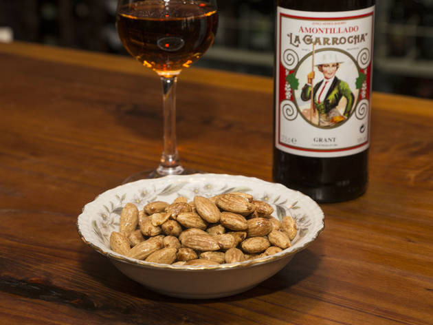 Fried almonds with sea salt at Rootstock Wine & Beer Bar