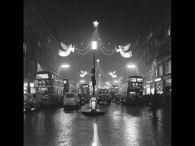The Regent Street Christmas lights at night, 1960
