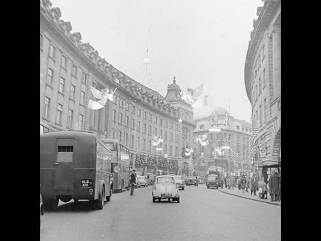 Christmas lights in Regent Street, 1960