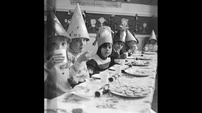 Christmas lunch at Kingsgate Infants School, 1970