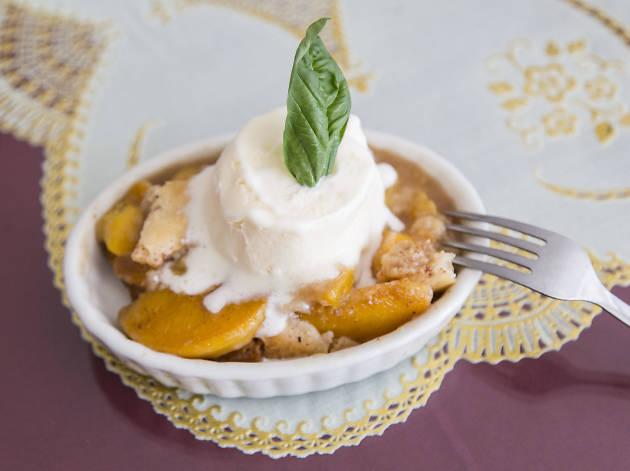 Peach cobbler at Chez Delisay's Cajun Cuisine