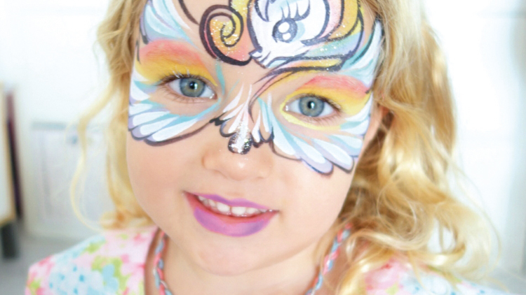 Happier, rainbow pony face painting
