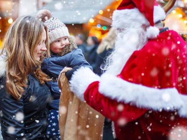 Mother and child with Santa