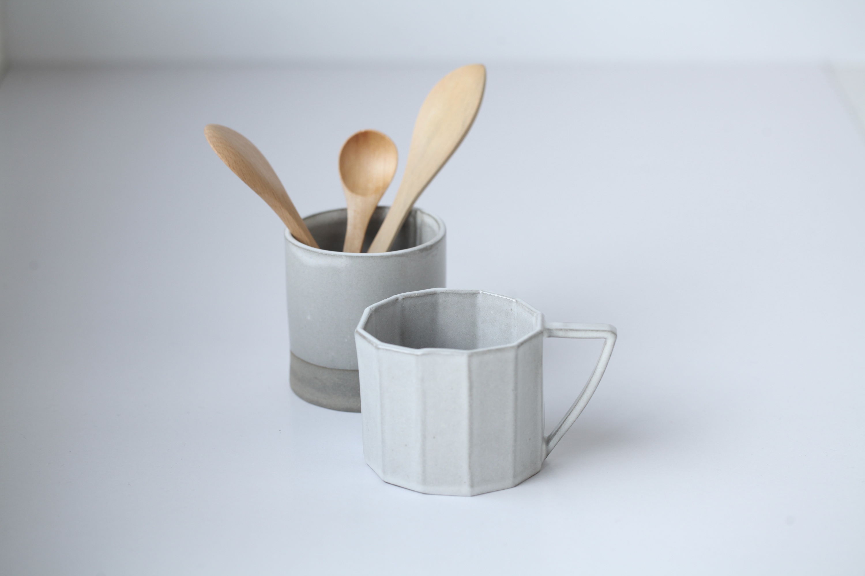 thirty3eleven ceramic cup, The Basket Shop wooden spoon, The Basket Shop wooden butter spreader