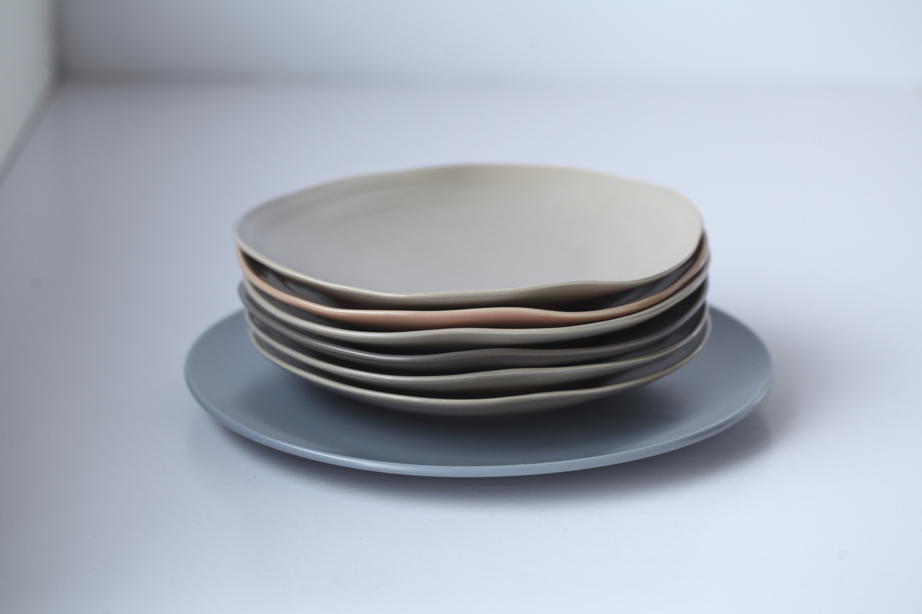 Grey-blue plate and plates