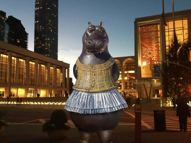 Yes, that's a hippo in a tutu and it's coming to Lincoln Center