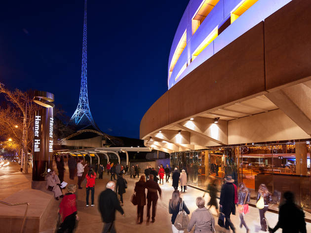 Arts Centre Melbourne 2012 exterior night view from Hamer Hall to Theatres with spire image courtesy Arts Centre Melbourne 2016 photographer David Simmonds Photography