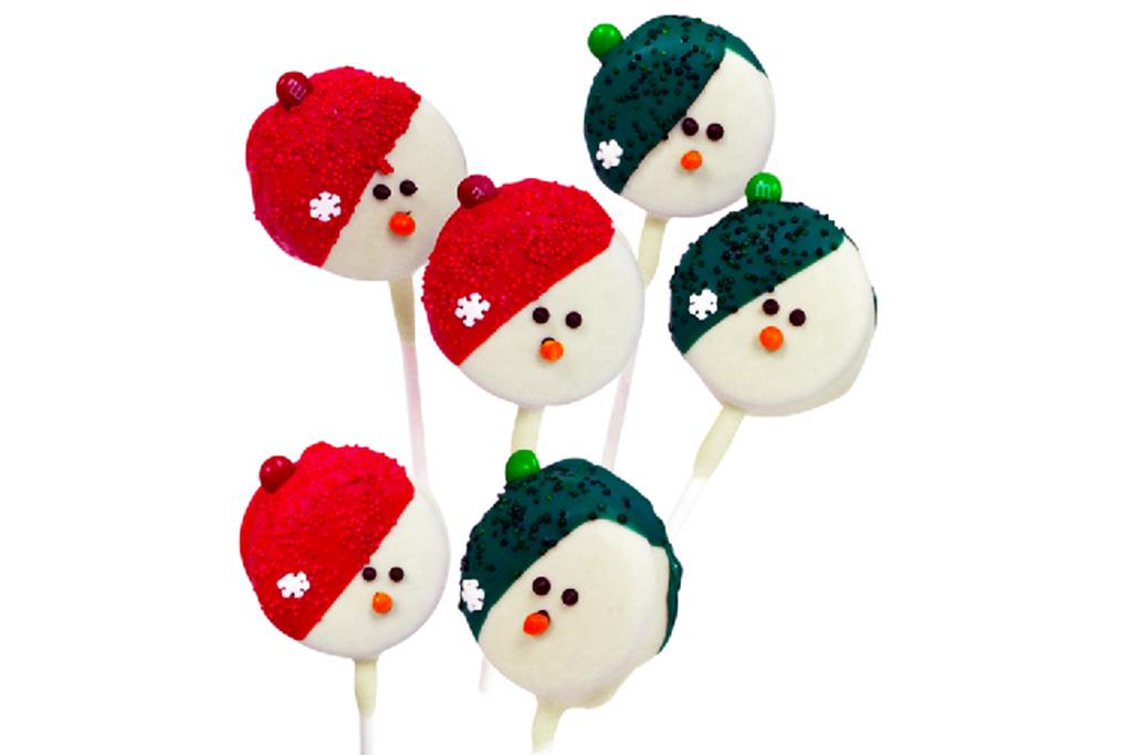 Belgian Chocolate Covered Snowman Oreo Pops