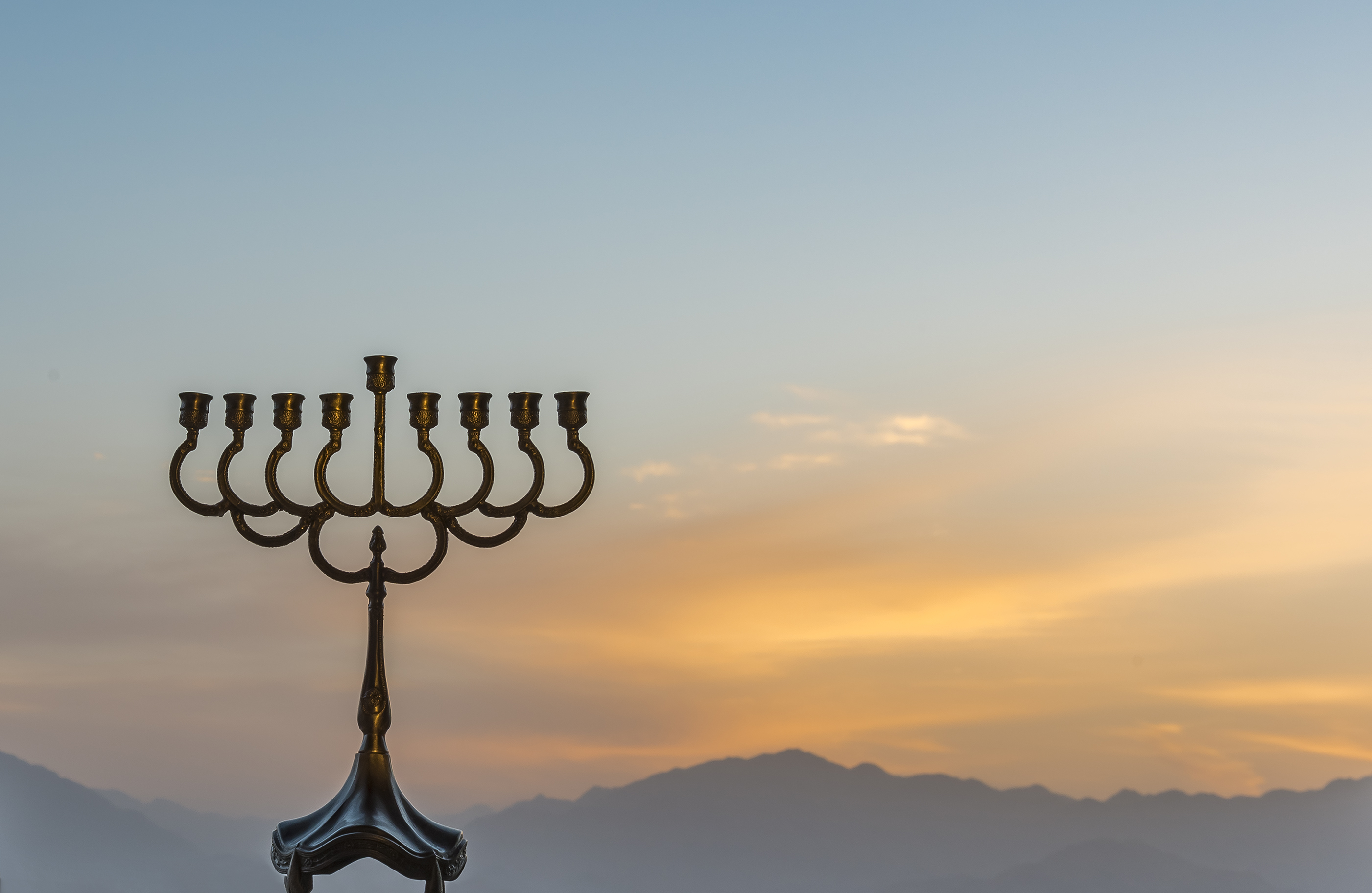 menorah sunset