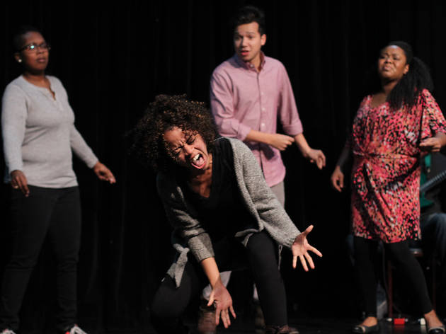 Saliha Muttalib, Angela Oliver, Chanse McCrary and Colette Gregory in rehearsal for Baby Wants Candy's Shamilton