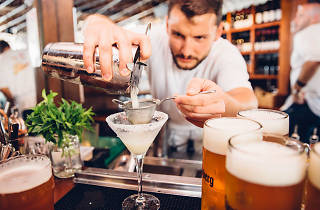 Bartender pours a Margarita at Munich Brauhaus