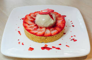 Foo Foo Fine Desserts strawberry tart with balsamic vinegar ice cream