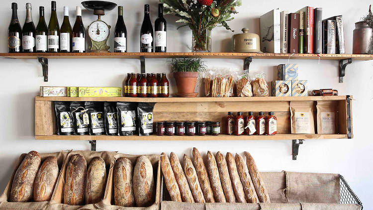 Produce shelf display at the Stinking Bishops