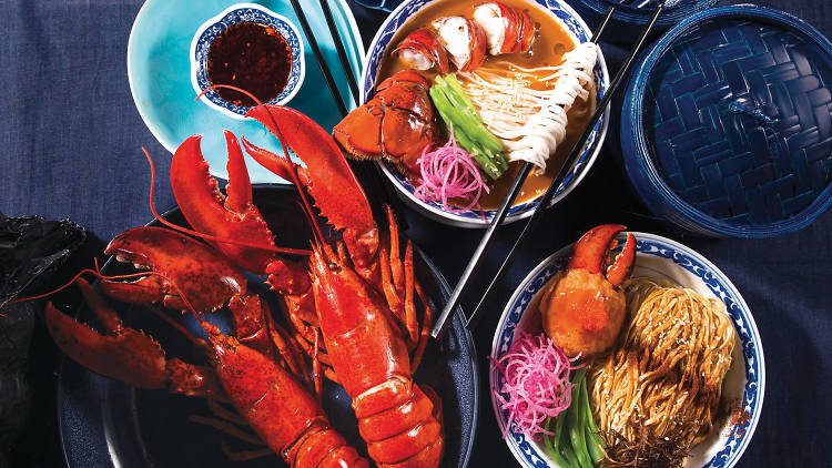 Lobster tail soup noodles 龍肉湯麵 and double lobster claws lo mein 龍鉗撈麵