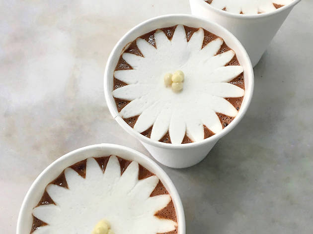 Blooming hot chocolate at Dominique Ansel Bakery