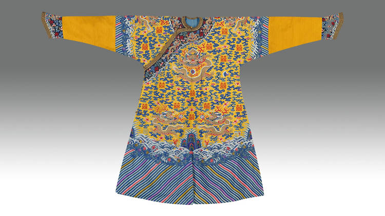 Yellow lined male dragon robe with kesi-tapestry with double happiness motif