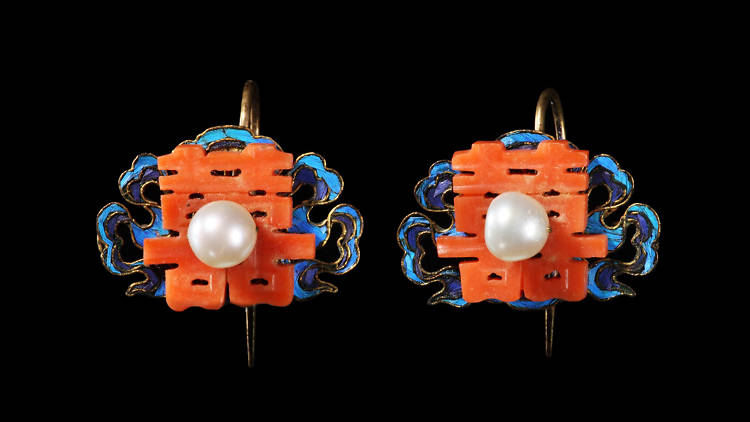 Pair of gilt silver earrings with coral double happiness symbols