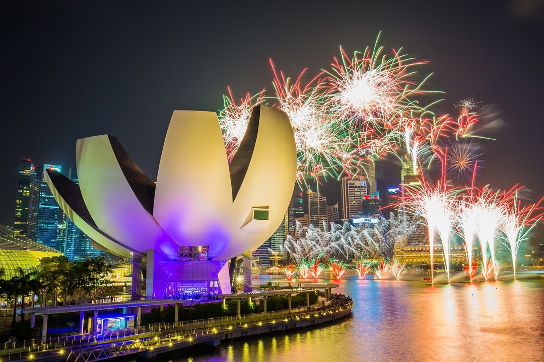 Helix Bridge, Marina Bay, Fireworks