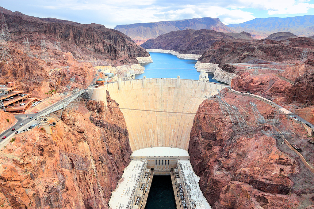 Hoover Dam, between Nevada and Arizona
